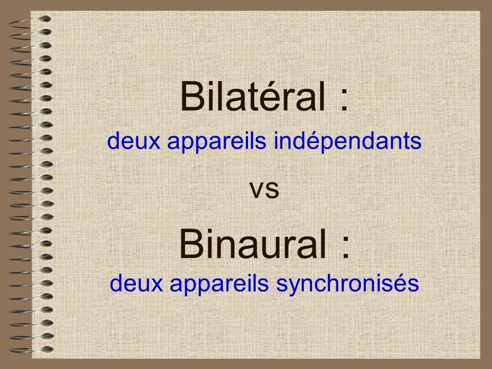 Bilatéral : deux appareils indépendants vs Binaural : deux appareils synchronisés