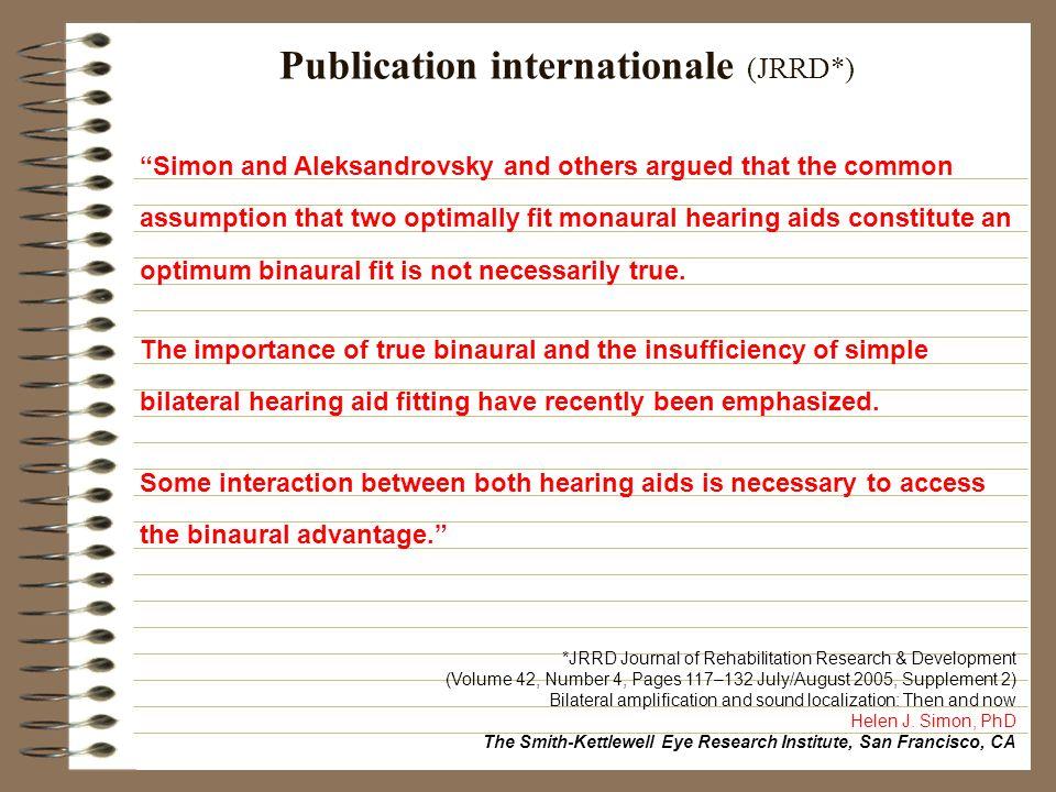 Publication internationale (JRRD*)