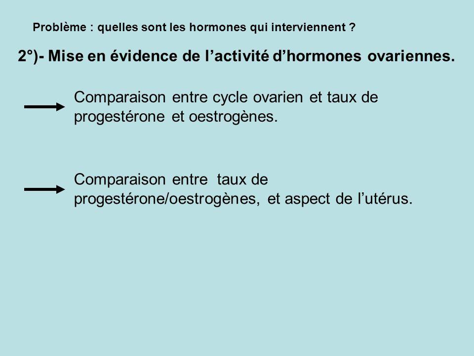 2°)- Mise en évidence de l'activité d'hormones ovariennes.