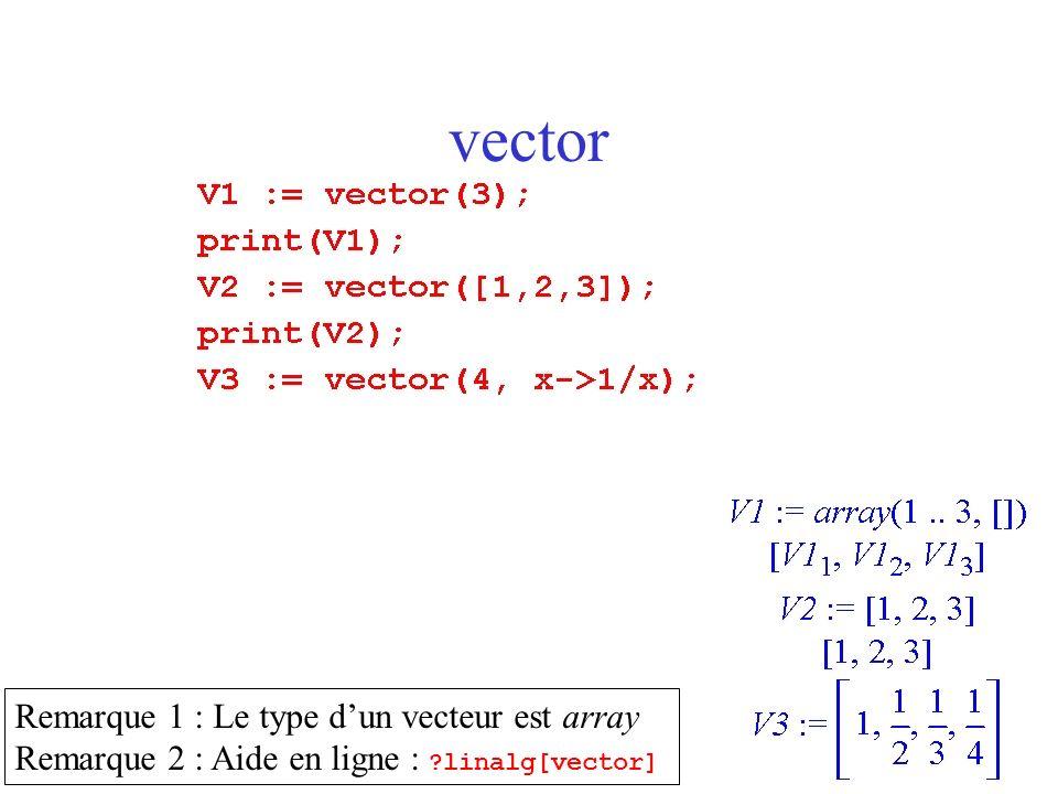 vector Remarque 1 : Le type d'un vecteur est array
