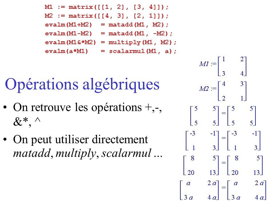Opérations algébriques