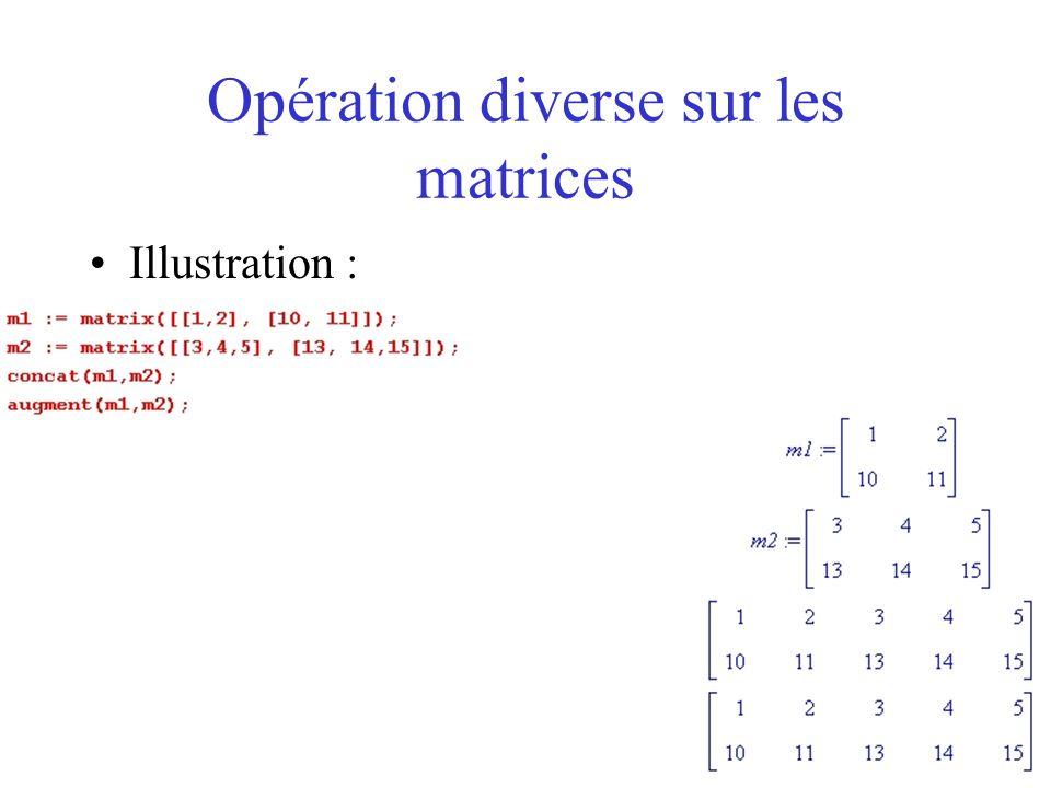 Opération diverse sur les matrices