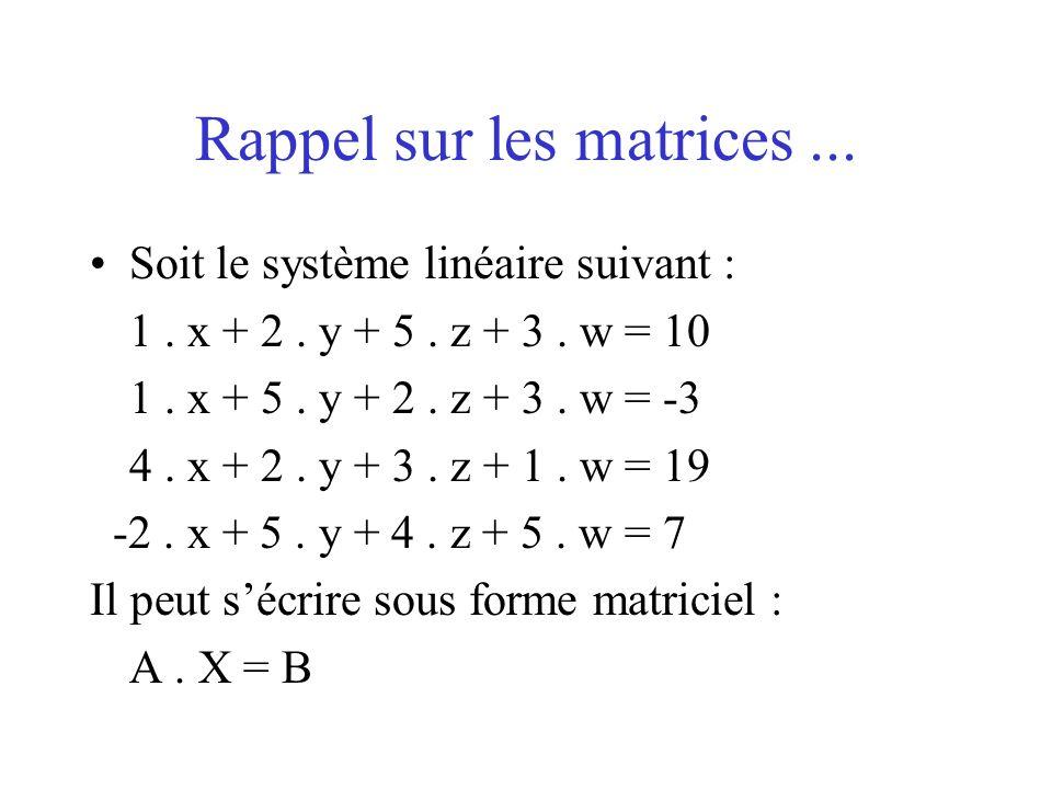 Rappel sur les matrices ...