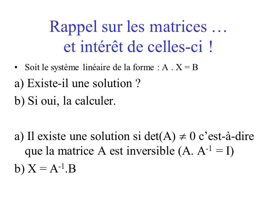Rappel sur les matrices … et intérêt de celles-ci !