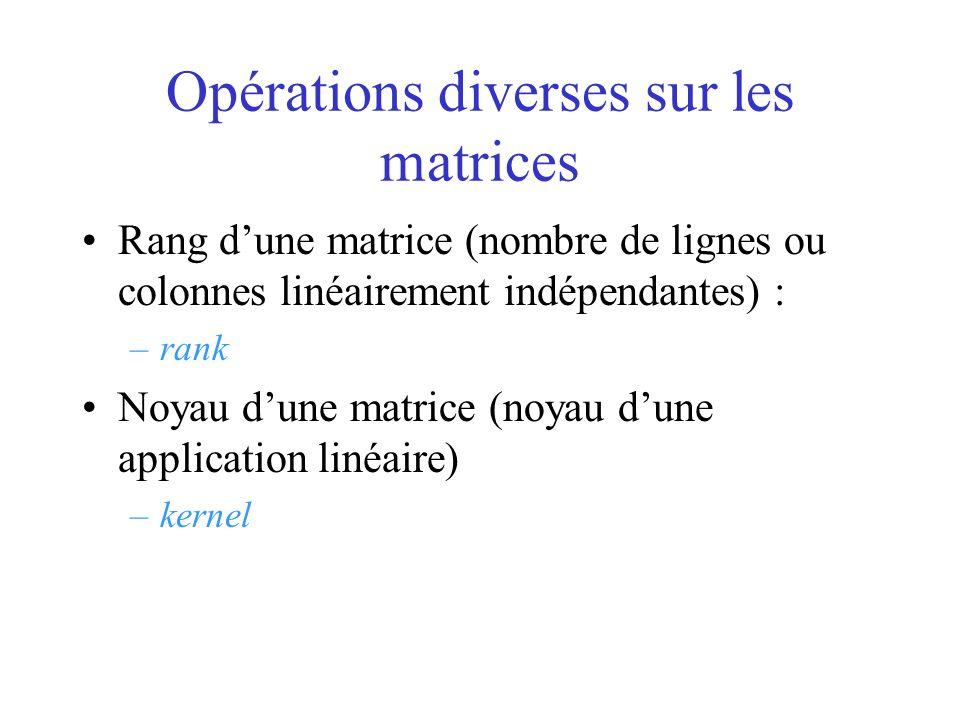 Opérations diverses sur les matrices