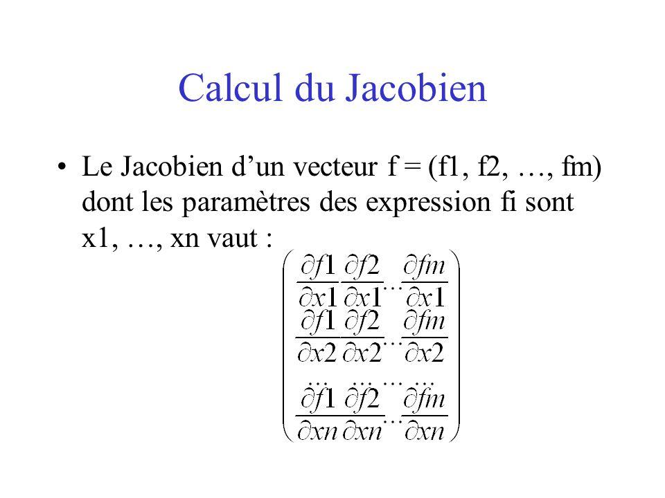 Calcul du Jacobien Le Jacobien d'un vecteur f = (f1, f2, …, fm) dont les paramètres des expression fi sont x1, …, xn vaut :