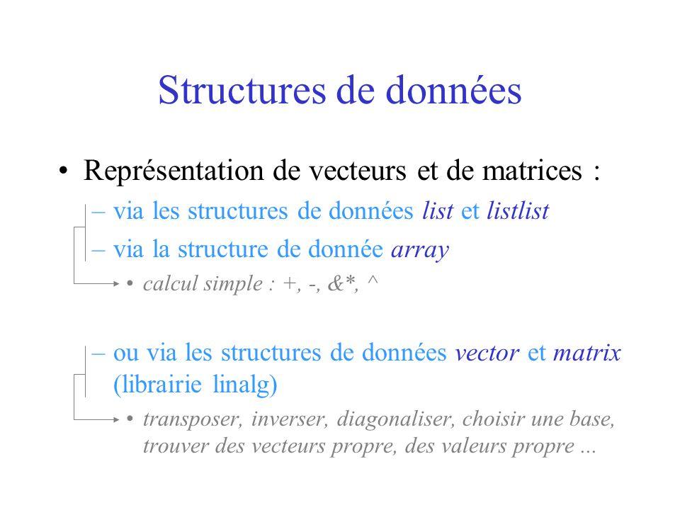 Structures de données Représentation de vecteurs et de matrices :