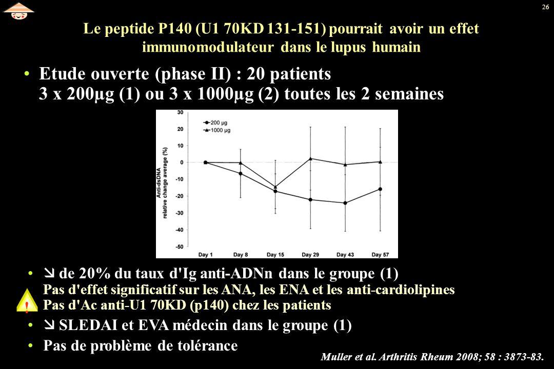Le peptide P140 (U1 70KD 131-151) pourrait avoir un effet immunomodulateur dans le lupus humain