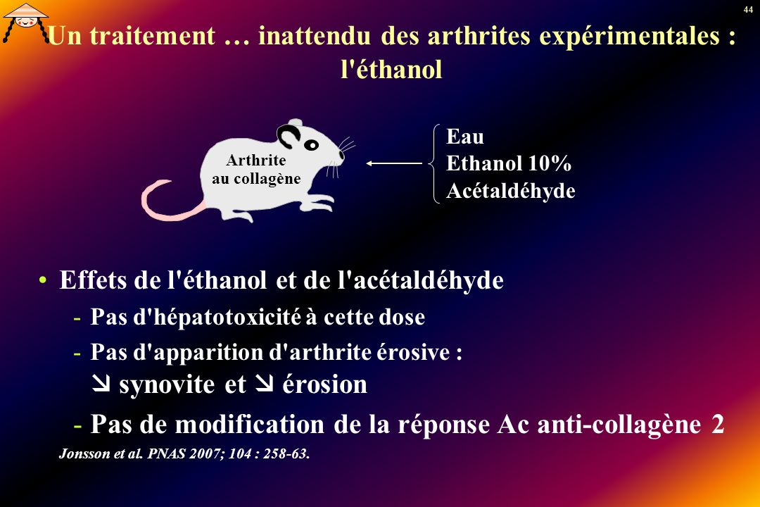 Un traitement … inattendu des arthrites expérimentales : l éthanol