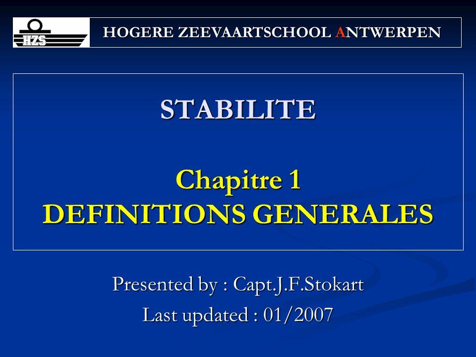 STABILITE Chapitre 1 DEFINITIONS GENERALES