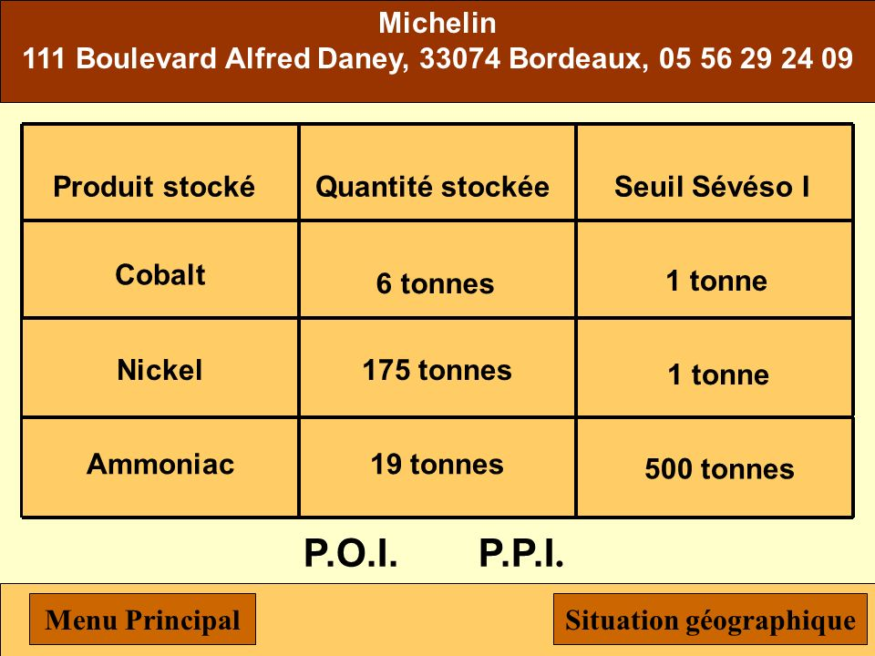 Michelin 111 Boulevard Alfred Daney, 33074 Bordeaux, 05 56 29 24 09. Nickel. 175 tonnes. Produit stocké.