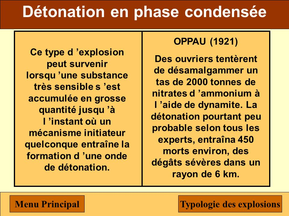 Typologie des explosions
