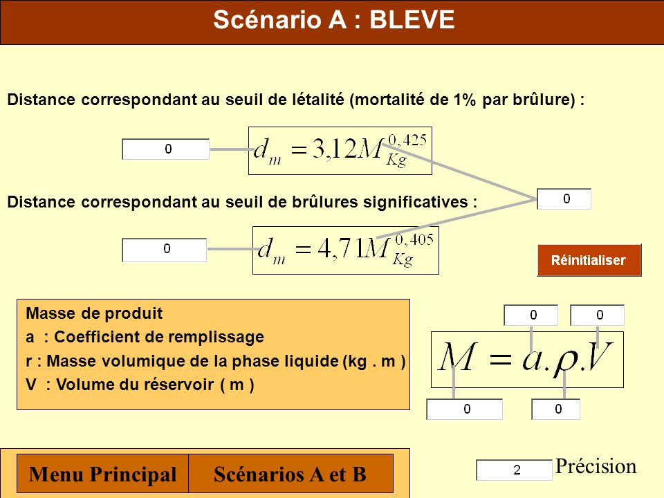Scénario A : BLEVE Précision Menu Principal Scénarios A et B