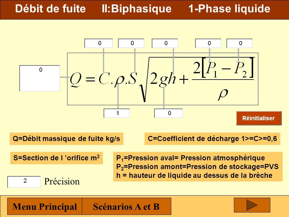 Débit de fuite II:Biphasique 1-Phase liquide