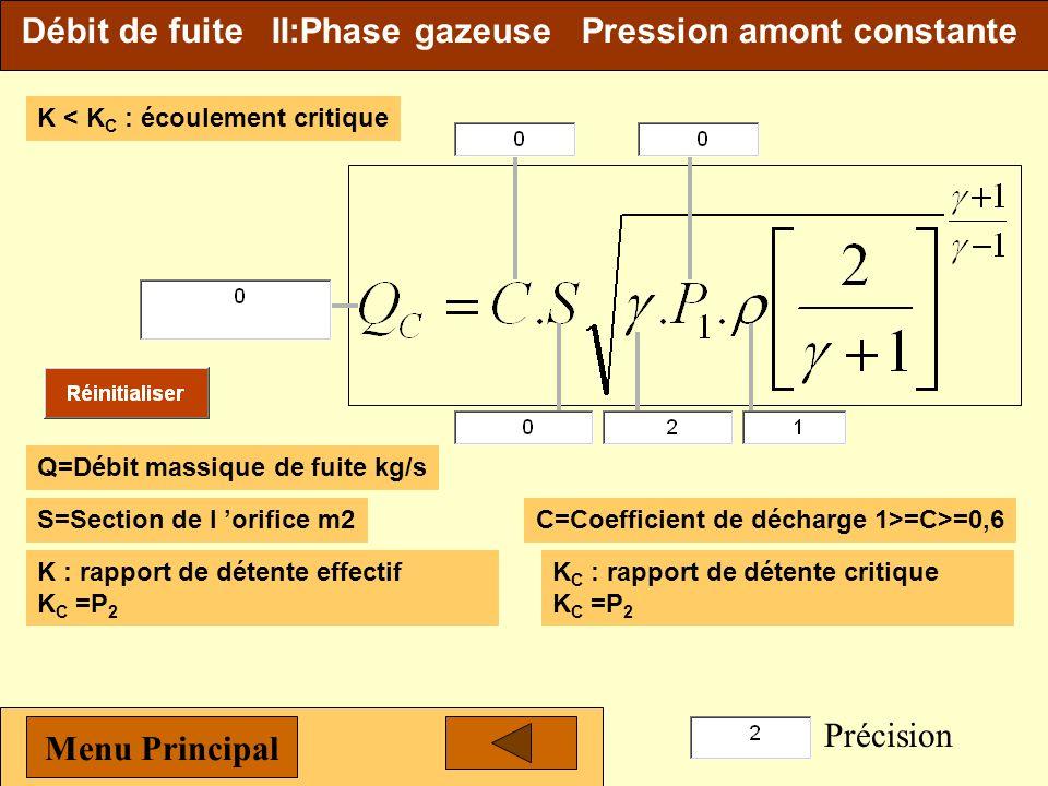 Débit de fuite II:Phase gazeuse Pression amont constante