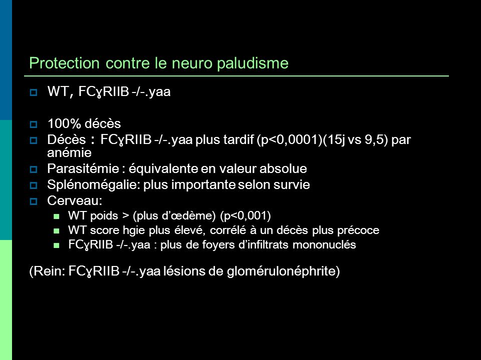 Protection contre le neuro paludisme