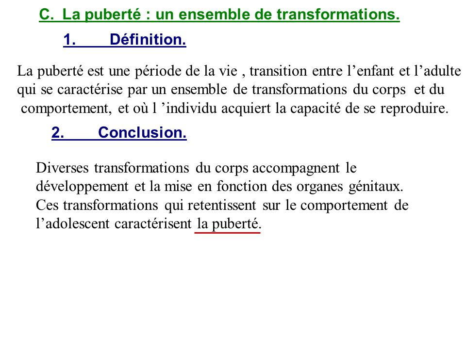 C. La puberté : un ensemble de transformations.