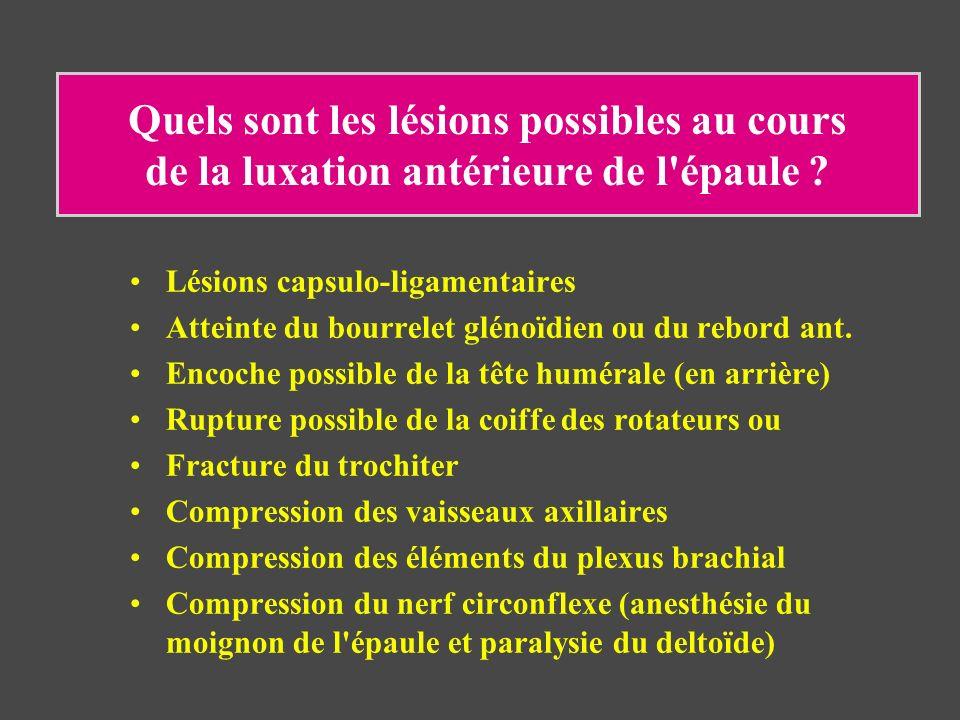 Quels sont les lésions possibles au cours de la luxation antérieure de l épaule