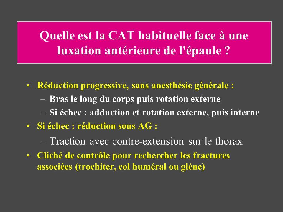 Quelle est la CAT habituelle face à une luxation antérieure de l épaule
