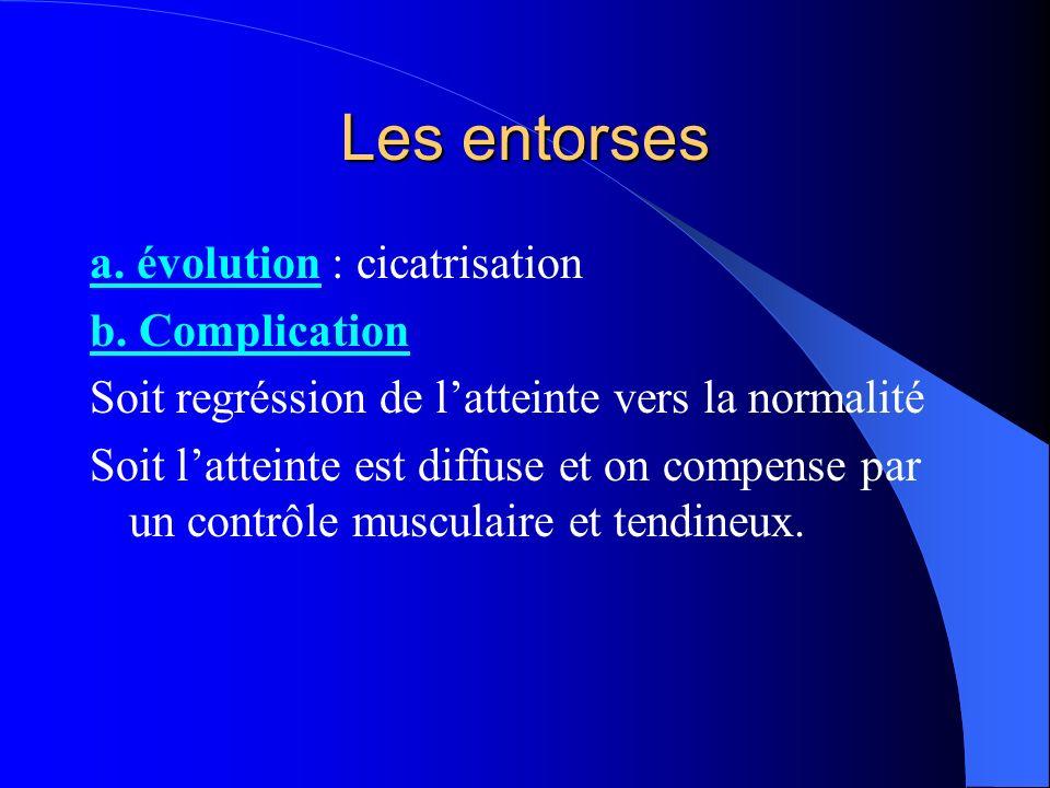 Les entorses a. évolution : cicatrisation b. Complication