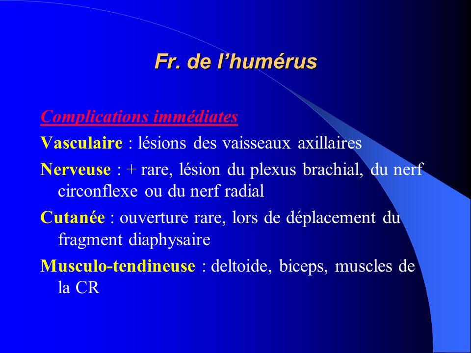 Fr. de l'humérus Complications immédiates