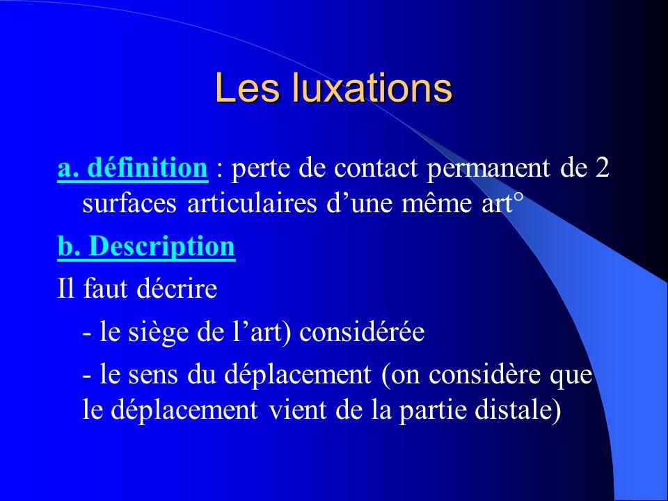 Les luxations a. définition : perte de contact permanent de 2 surfaces articulaires d'une même art°
