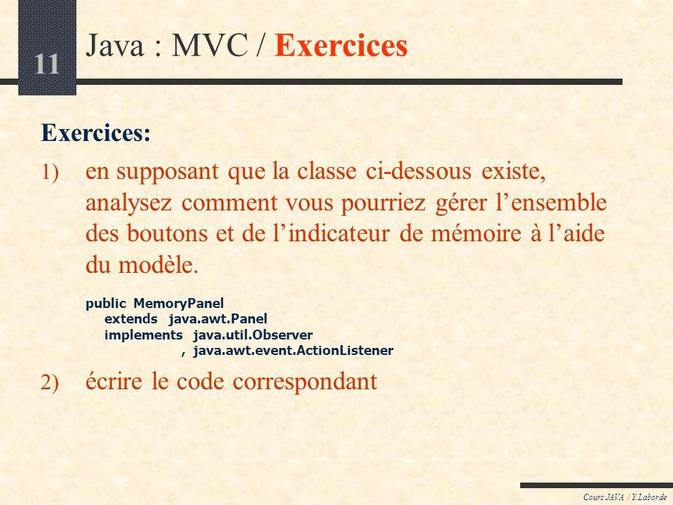 Java : MVC / Exercices Exercices: