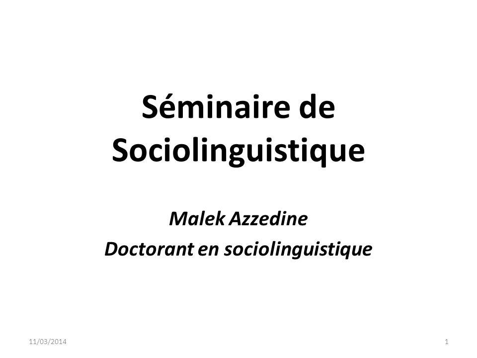 Séminaire de Sociolinguistique
