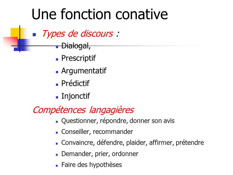 Une fonction conative Types de discours : Compétences langagières