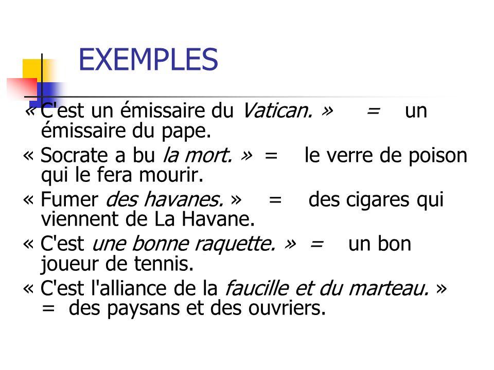 EXEMPLES « C est un émissaire du Vatican. » = un émissaire du pape.