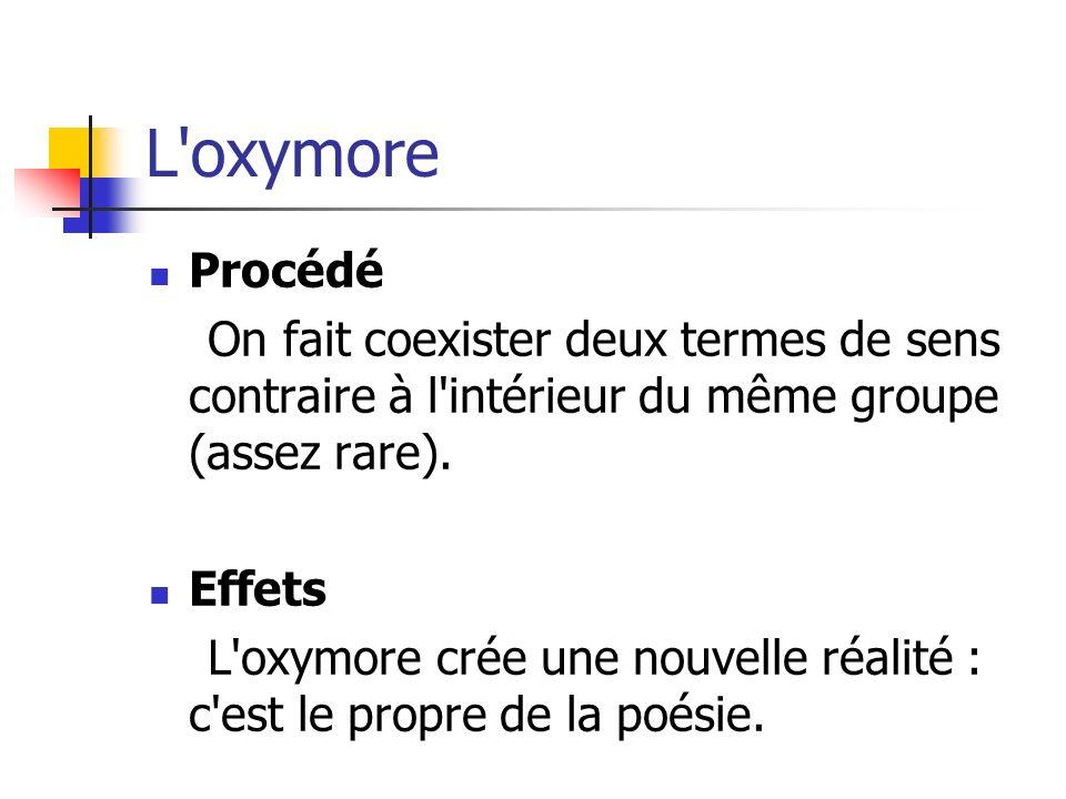 L oxymore Procédé. On fait coexister deux termes de sens contraire à l intérieur du même groupe (assez rare).
