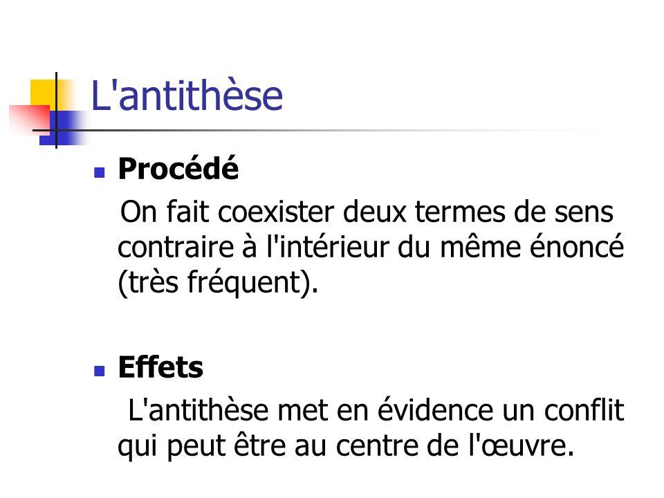 L antithèse Procédé. On fait coexister deux termes de sens contraire à l intérieur du même énoncé (très fréquent).