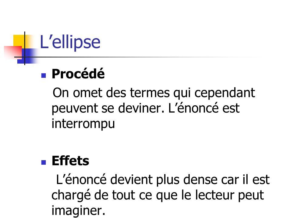 L'ellipse Procédé. On omet des termes qui cependant peuvent se deviner. L'énoncé est interrompu. Effets.