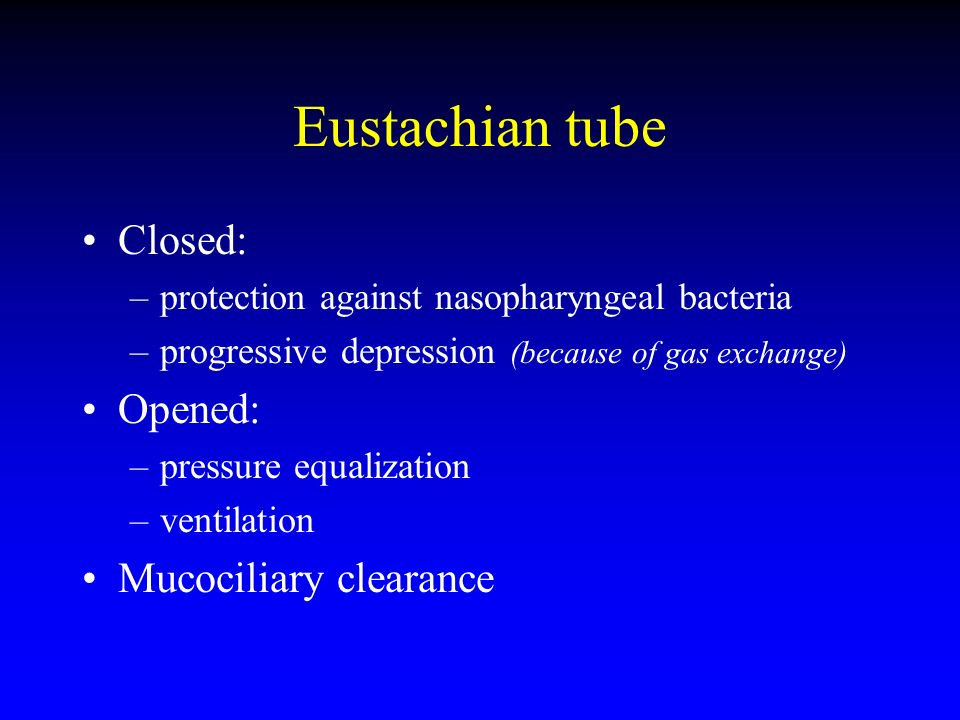 Eustachian tube Closed: Opened: Mucociliary clearance