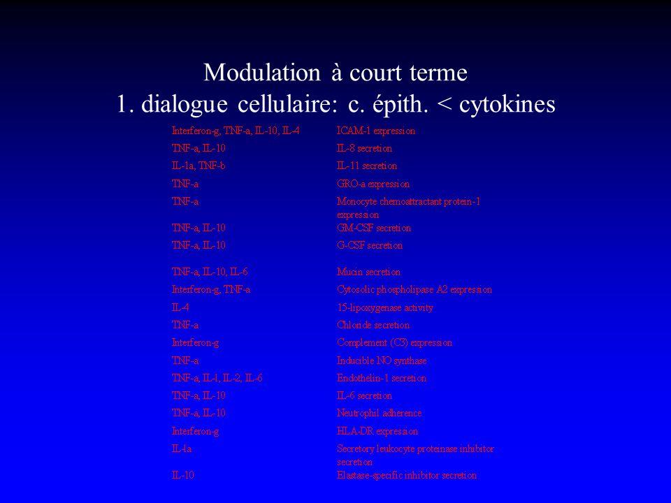 Modulation à court terme 1. dialogue cellulaire: c. épith