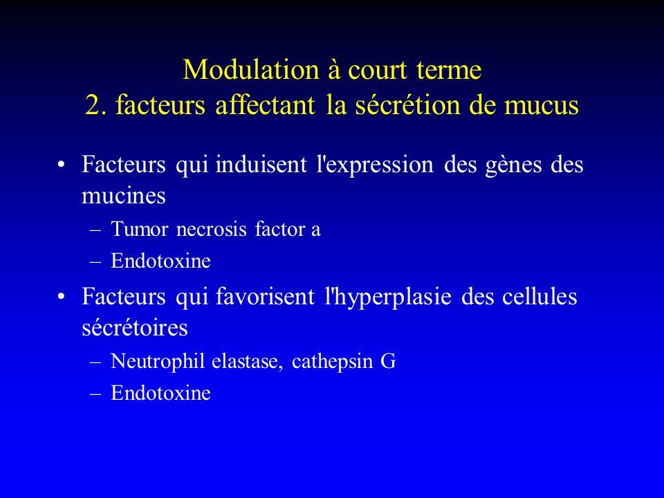 Modulation à court terme 2. facteurs affectant la sécrétion de mucus