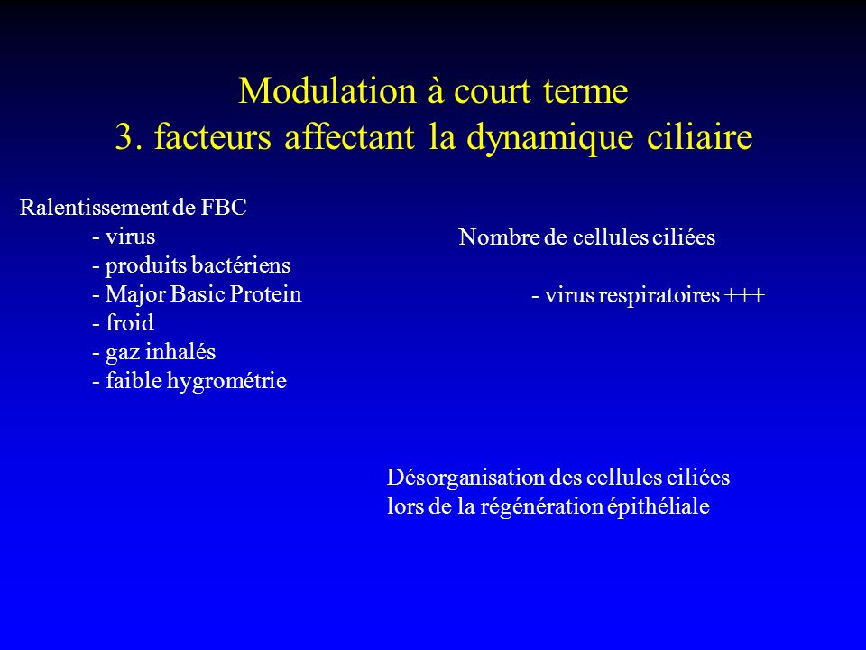 Modulation à court terme 3. facteurs affectant la dynamique ciliaire
