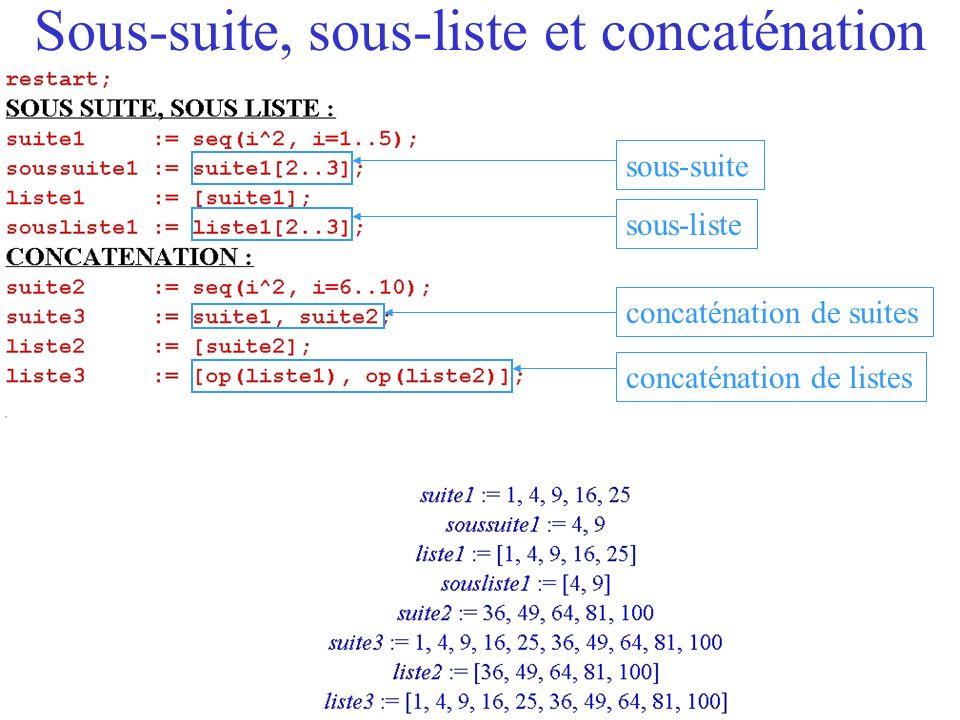 Sous-suite, sous-liste et concaténation
