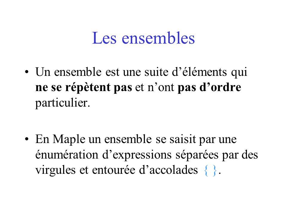 Les ensemblesUn ensemble est une suite d'éléments qui ne se répètent pas et n'ont pas d'ordre particulier.