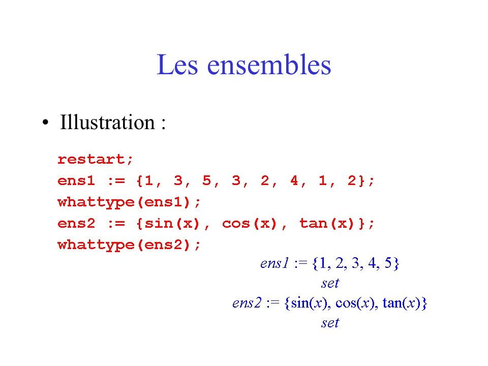 Les ensembles Illustration :