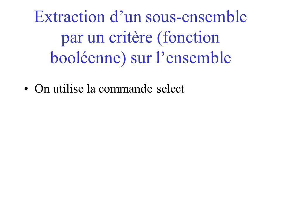 Extraction d'un sous-ensemble par un critère (fonction booléenne) sur l'ensemble