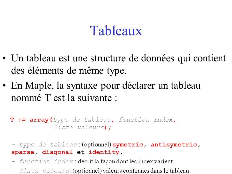 Tableaux Un tableau est une structure de données qui contient des éléments de même type.