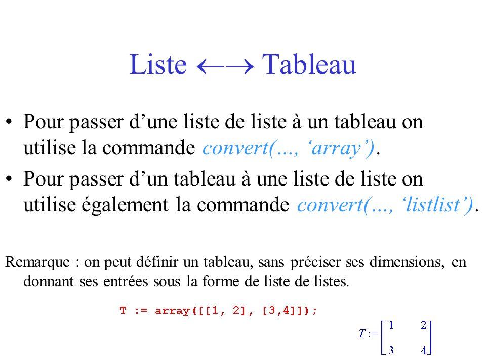 Liste  TableauPour passer d'une liste de liste à un tableau on utilise la commande convert(…, 'array').