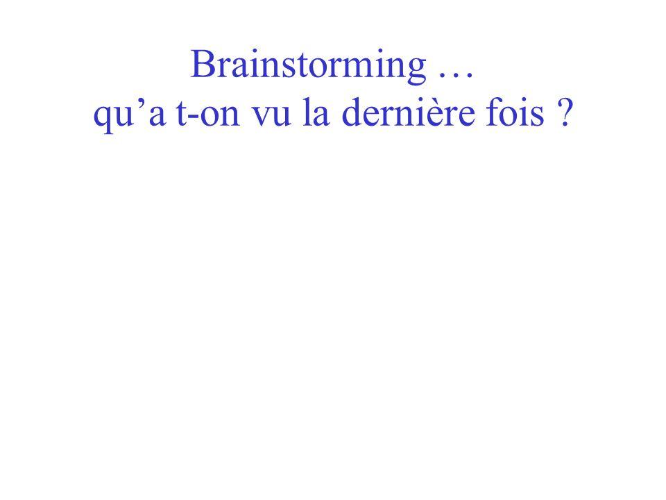 Brainstorming … qu'a t-on vu la dernière fois