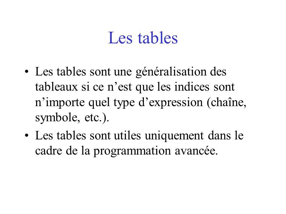 Les tables Les tables sont une généralisation des tableaux si ce n'est que les indices sont n'importe quel type d'expression (chaîne, symbole, etc.).