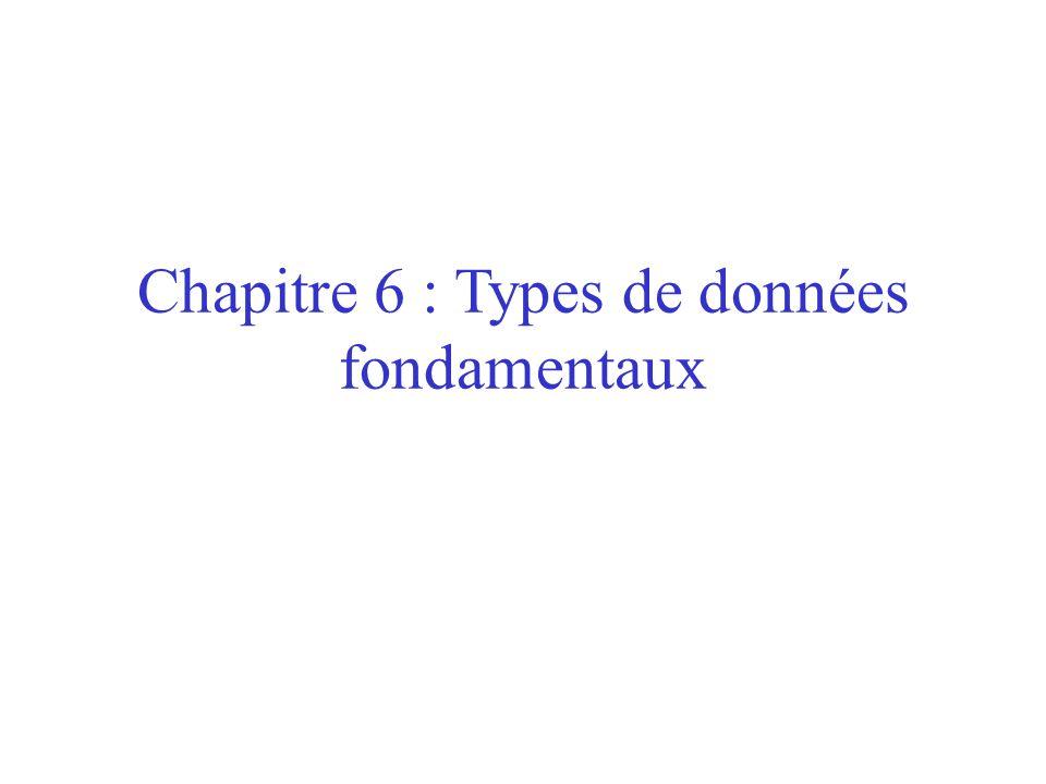 Chapitre 6 : Types de données fondamentaux