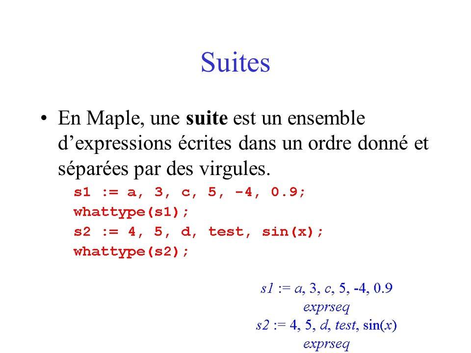 SuitesEn Maple, une suite est un ensemble d'expressions écrites dans un ordre donné et séparées par des virgules.