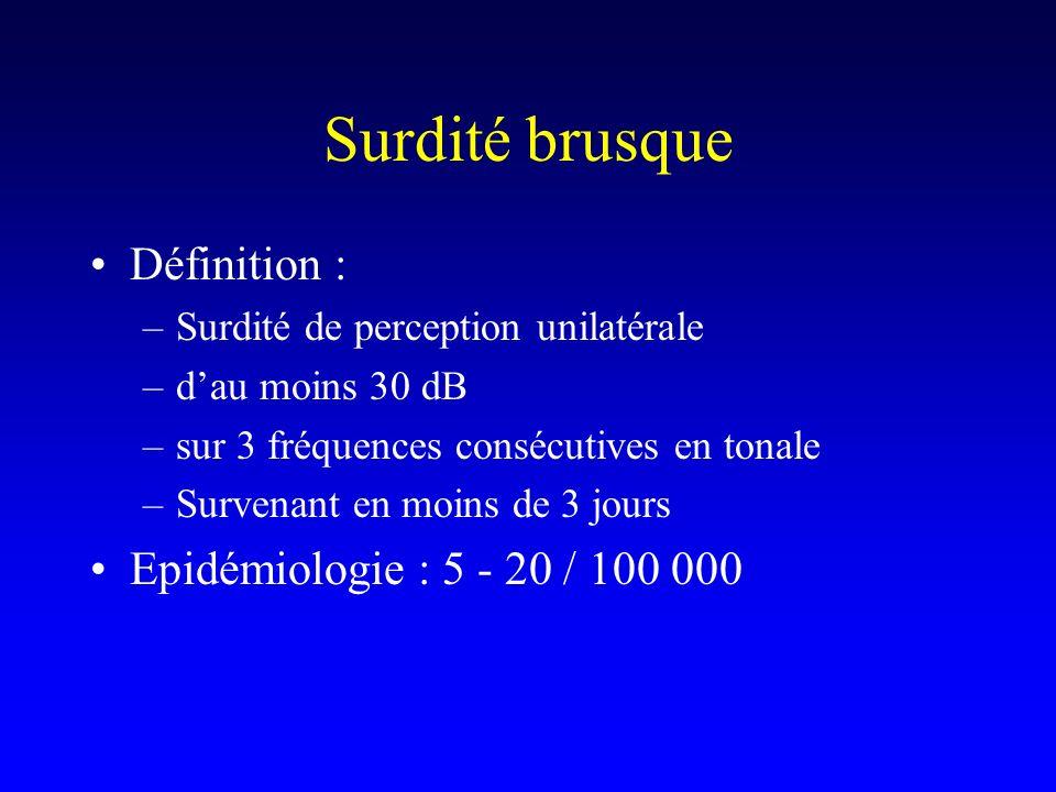 Surdité brusque Définition : Epidémiologie : 5 - 20 / 100 000