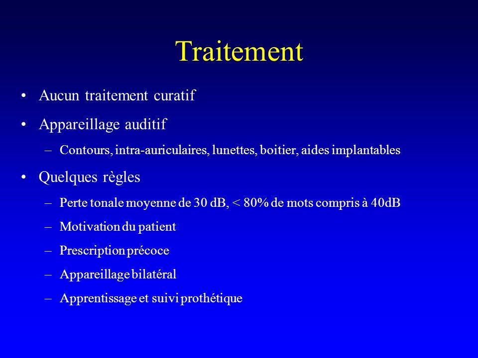 Traitement Aucun traitement curatif Appareillage auditif