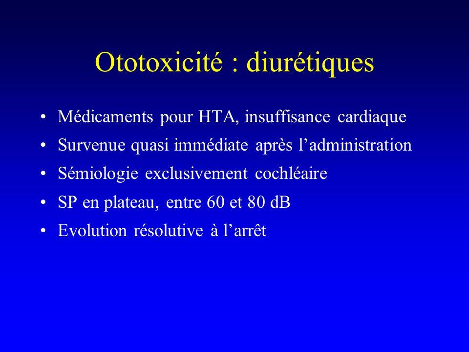 Ototoxicité : diurétiques
